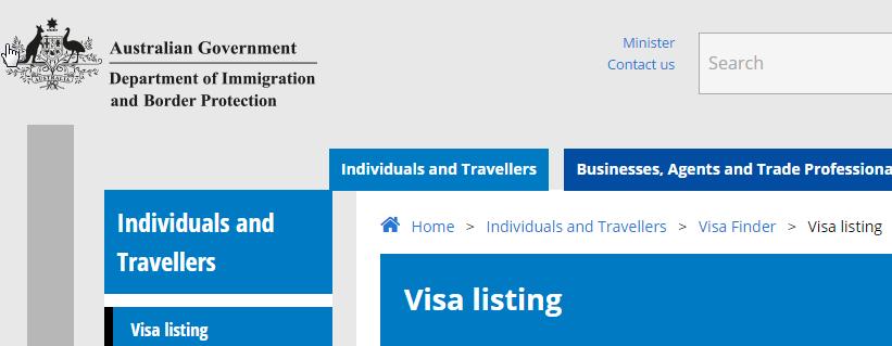 Australien Seemann Visum Listing